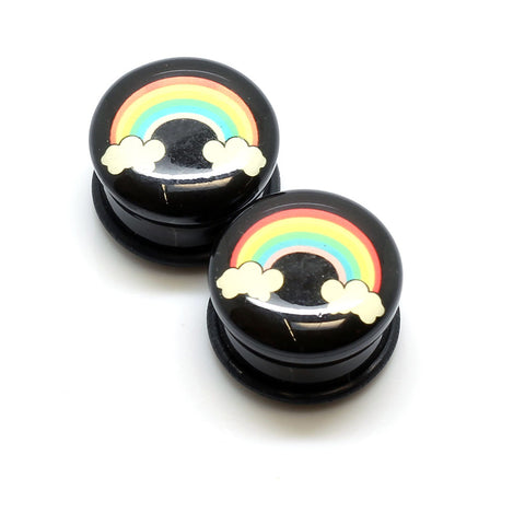 Acrylic Rainbow Clouds Ear Plugs - 19mm