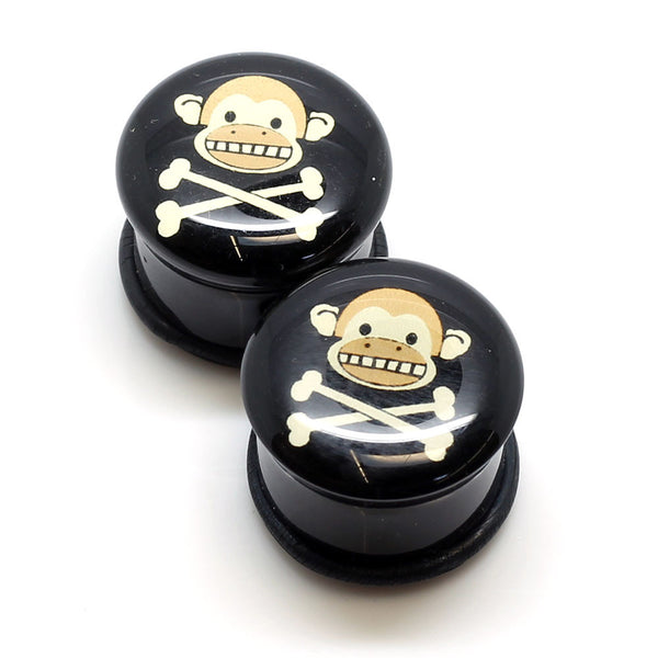 Acrylic Monkey Skull Ear Plugs - 19mm - BodyJewelrySource