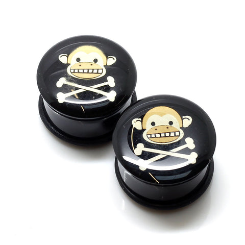 Acrylic Monkey Skull Ear Plugs - 22mm