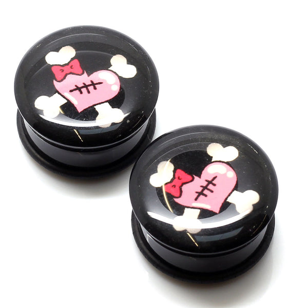Acrylic Heart Crossbones Ear Plugs - 22mm - BodyJewelrySource