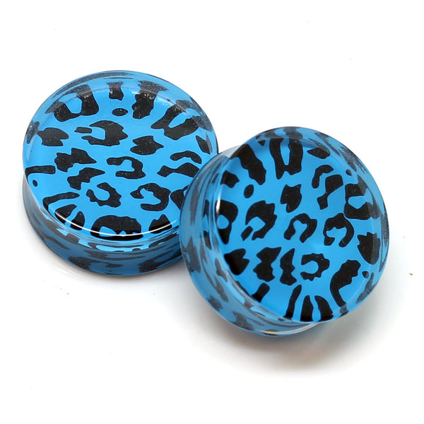 Blue Acrylic Double Flared Leopard Plugs