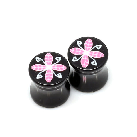 Black Double Flared 4 Leaf Plugs