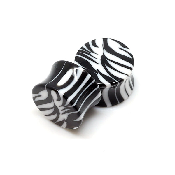 Double Flared Zebra Print Plugs