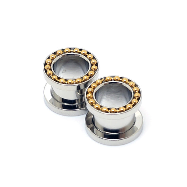 Stainless Steel Ear Tunnels With Beads Gold - 00G