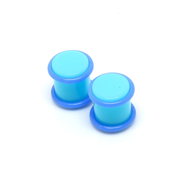 Acrylic Ear Plugs Plain Neon Blue - 00G - BodyJewelrySource