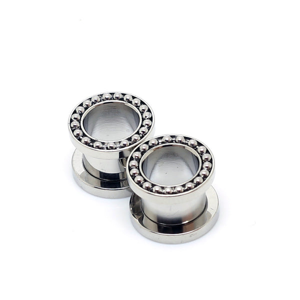 Stainless Steel Ear Tunnels With Beads Silver - 00G