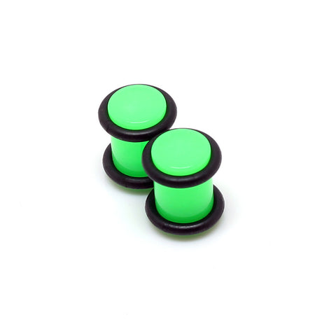 Acrylic Green Plain Neon Ear Plugs - 0G