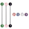 Industrial Barbell with UV Acrylic Glitter Balls