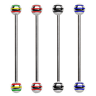 Industrial Barbell with Three Striped Balls