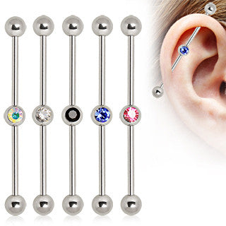 Industrial Barbell With Center Gem