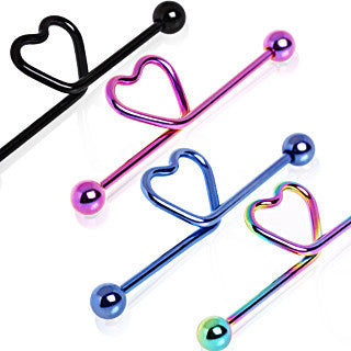 Anodized Industrial Barbell With Center Heart Loop - BodyJewelrySource