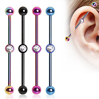 Anodized Industrial Barbell With Center Gem - BodyJewelrySource