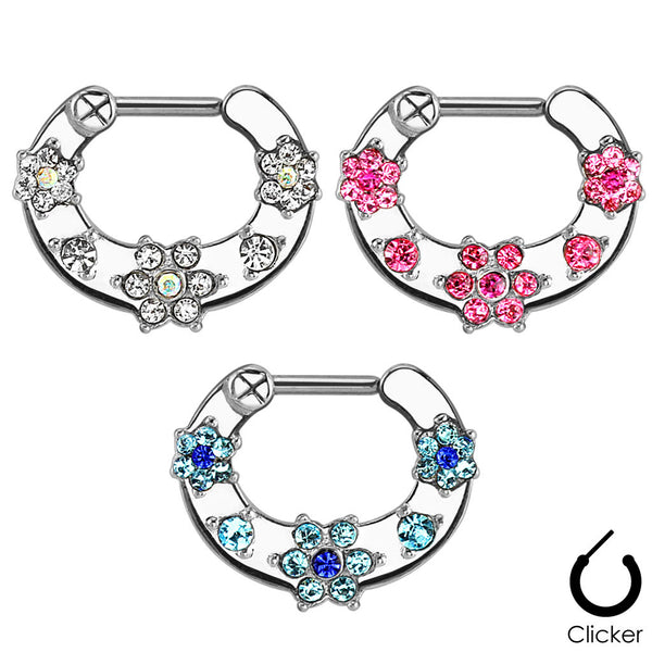 SALE-Septum Ring With Flower Paved Gems