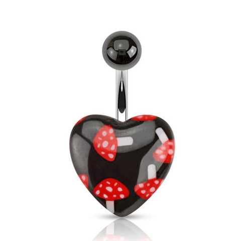 Sale -  Mushroom Heart Navel Ring