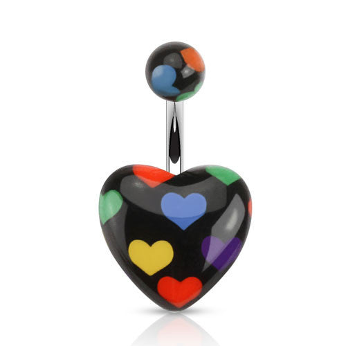 Black Heart Pattern Navel Ring - BodyJewelrySource