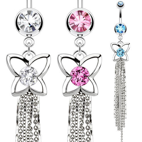 Butterfly With CZ Center Chandelier Navel Ring