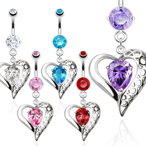 Vintage Heart With Teardrop CZ Navel Ring