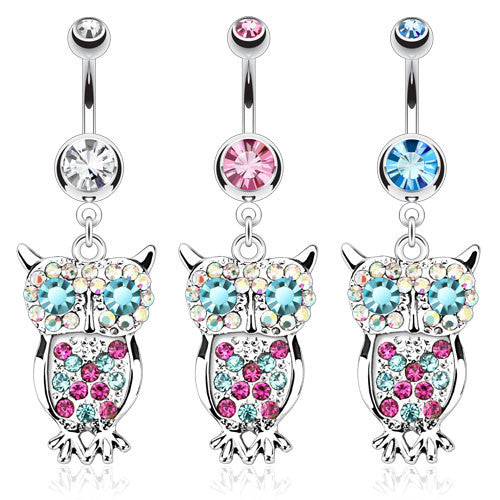 Owl With Multi Colored Gems Navel Ring