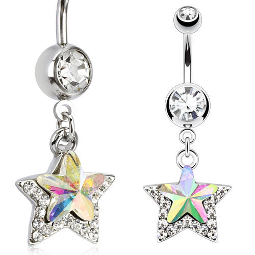 CZ Star Navel Ring