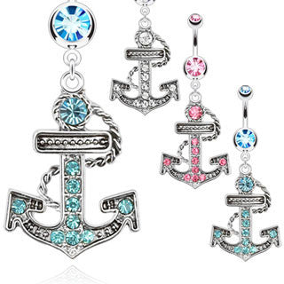 Multi Paved Anchor Dangle Navel Ring