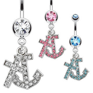 Multi Paved Anchor & Cross Dangle Navel Ring