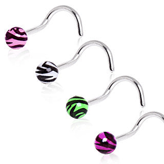 Nose Screw With Acrylic Zebra Ball