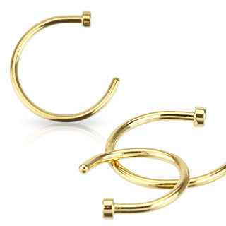 Nose Hoop Ring Gold IP over 316L Stainless Steel