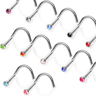 22G Stainless Steel Screw Nose Ring - BodyJewelrySource