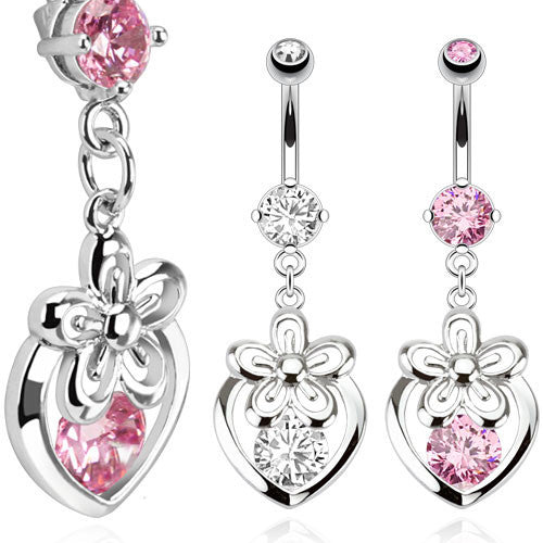 Hollow Heart and Flower Dangle Navel Ring