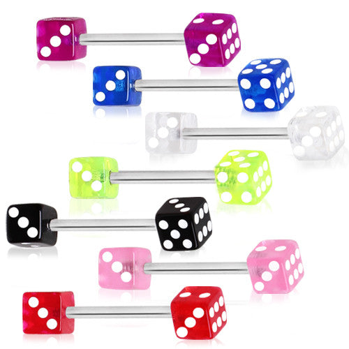 Nipple Ring With UV Acrylic Dice
