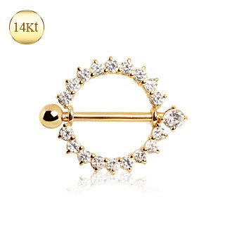 14Kt Yellow Gold Nipple Ring With Round Cubic Zirconia - BodyJewelrySource
