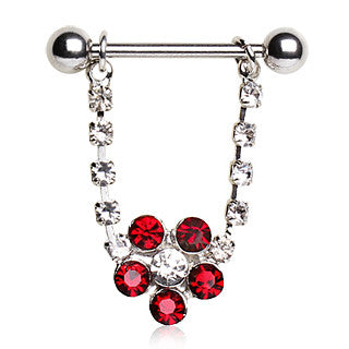 Nipple Ring With Flower Dangle