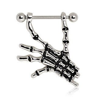 Nipple Ring With Skeleton Hand