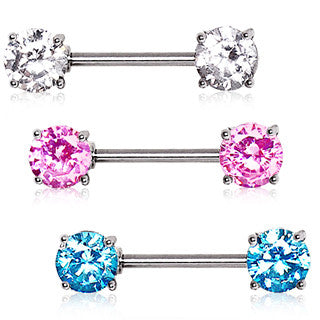 Nipple Barbell With Round Cubic Zirconia
