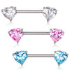Nipple Barbell With Heart Cubic Zirconia