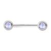 316L Surgical Steel Nipple Bar with Natural Stones - BodyJewelrySource