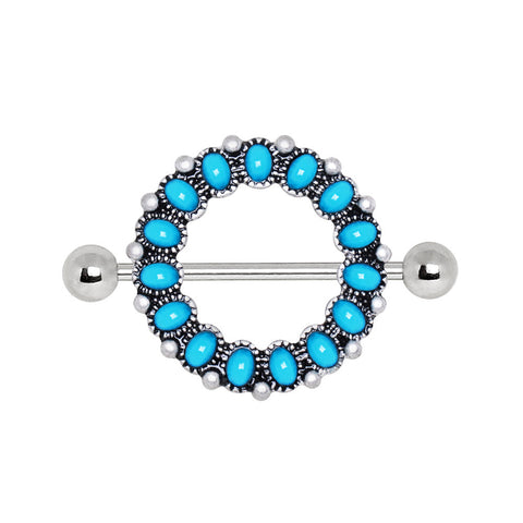 316L Stainless Steel Antique Turquoise Nipple Shield