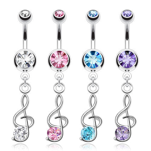 Musical Note Navel Ring