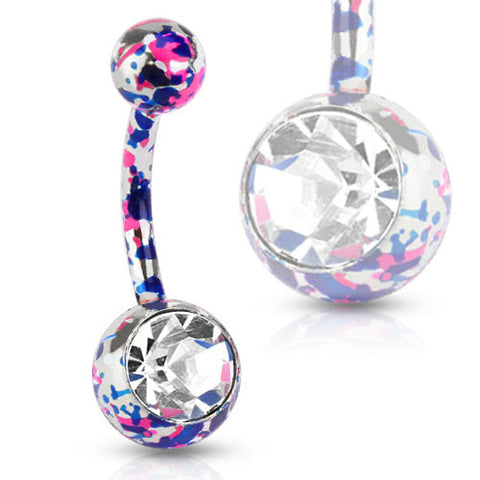 Pink & Blue Splatter Navel Ring