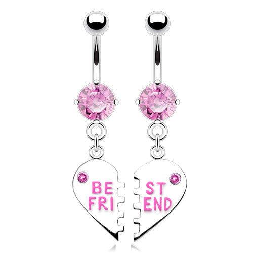 "New Pair of ""Best Friend"" Charm Pendent CZ Navel Ring"
