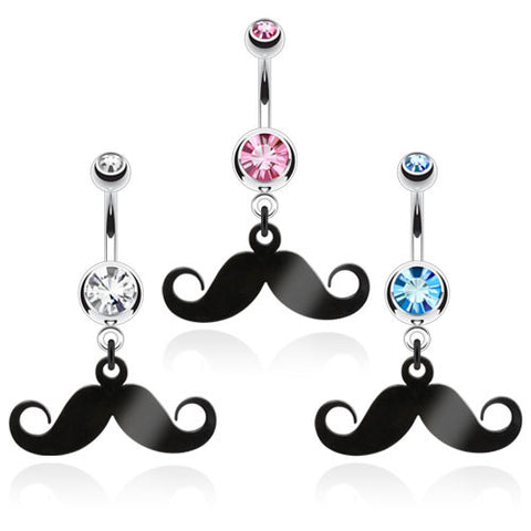 Sale - Mustache Navel Ring With Gem