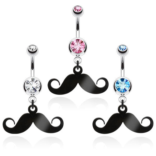 Mustache Navel Ring With Gem