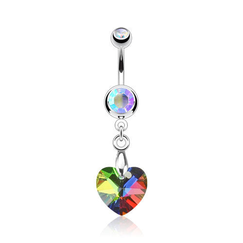 Crystal Ray Prism Heart Navel Ring 316L Surgical Steel