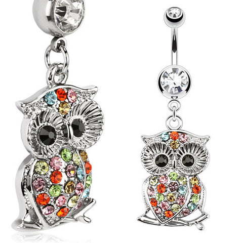 Sale - Multi Color Gemmed Owl Navel Ring