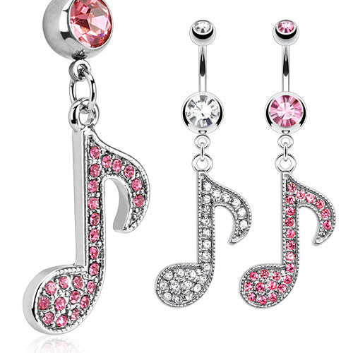 Multi Paved Music Note Navel Ring