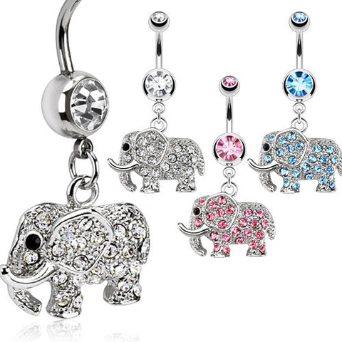Multi Paved Elephant Navel Ring