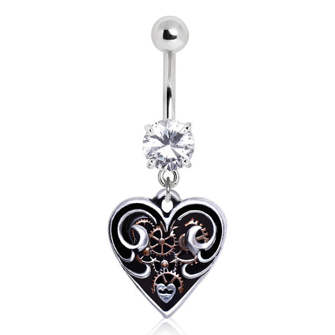 Steampunk Heart Navel Ring
