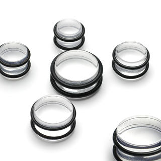 Acrylic Clear Plugs with O-Rings - BodyJewelrySource