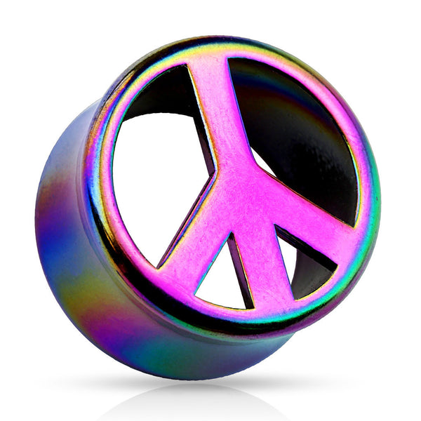 Rainbow Peace Double Flared Acrylic Saddle Fit Plug