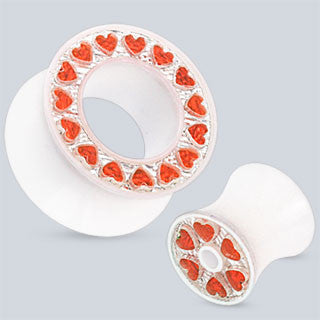 Acrylic Ear Tunnels With Heart Gemmed Rim